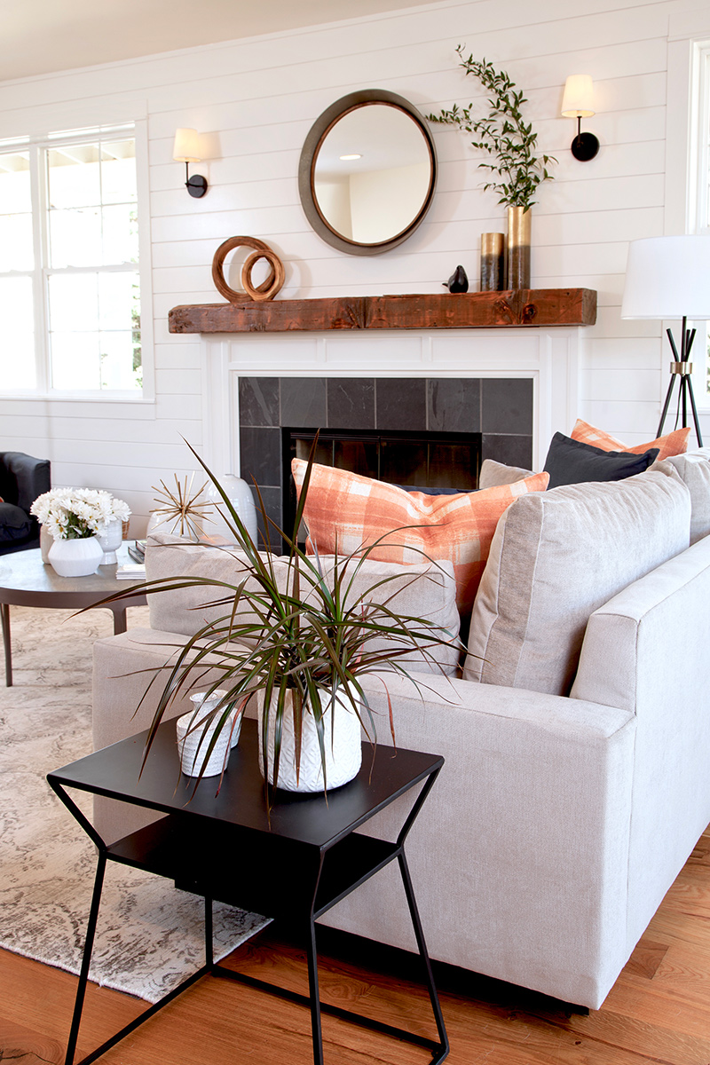 vertical shot of fireplace and sofa