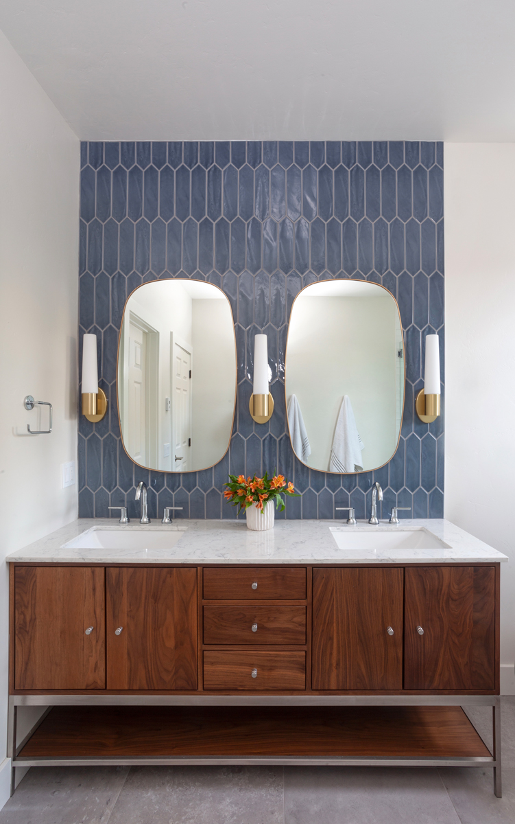 master vanity with blue tile