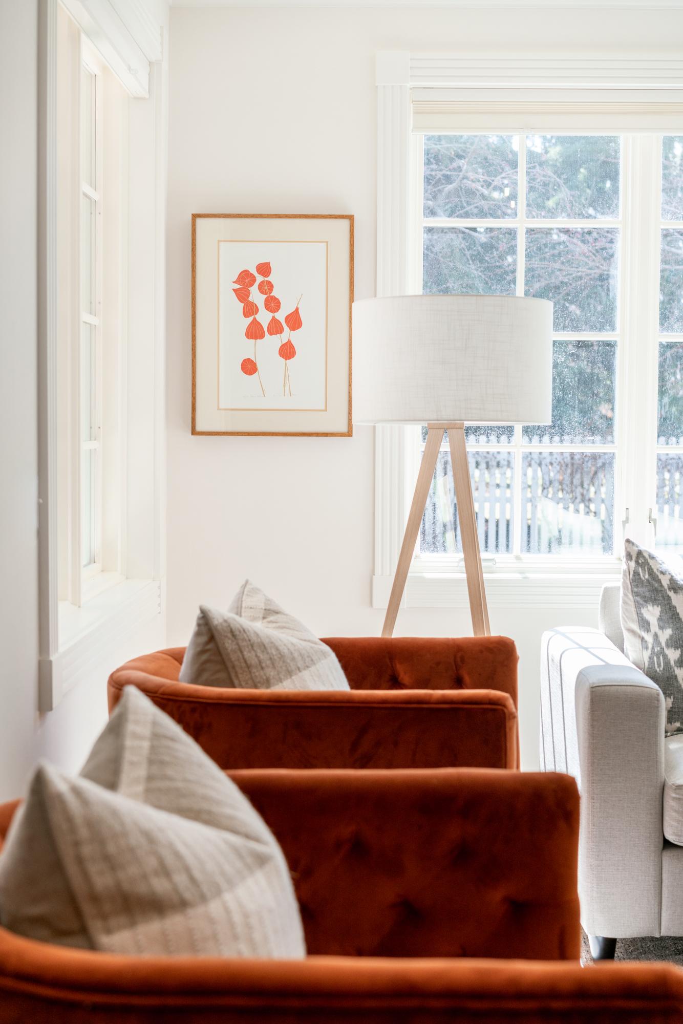 swivel rust velvet chairs with floor lamp